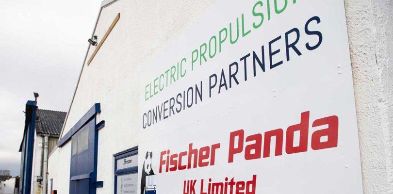 electric boat conversion sign at Broom Boats